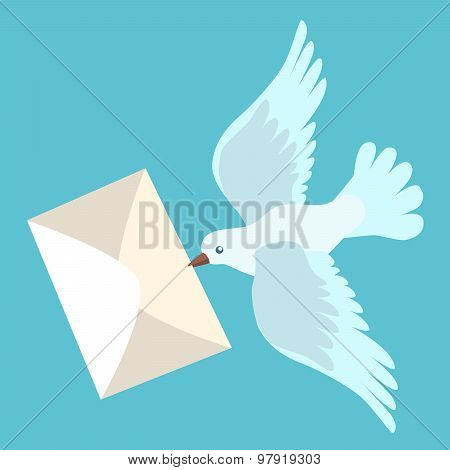 White Carrier Pigeon Brings A Letter
