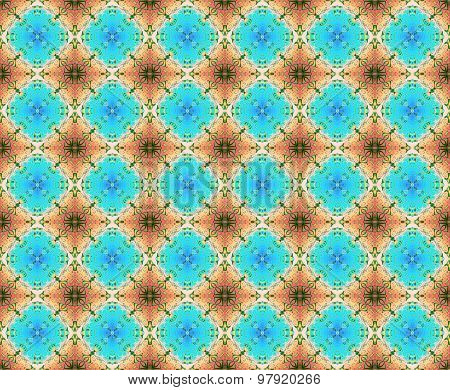 Seamless diamond pattern turquoise brown