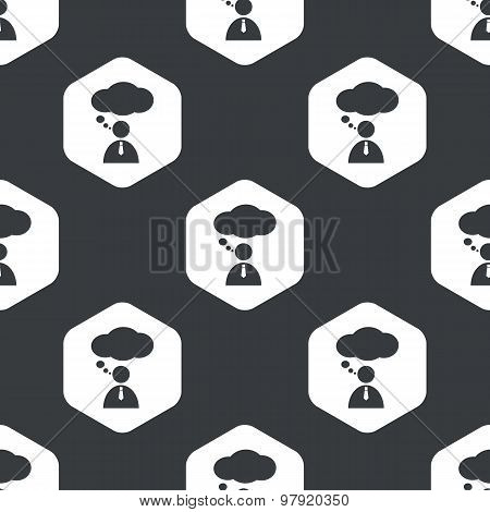 Black hexagon thinking person pattern
