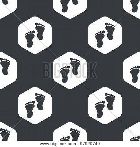 Black hexagon footprint pattern