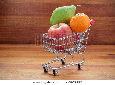 Shopping Cart Filled With Fresh Fruit