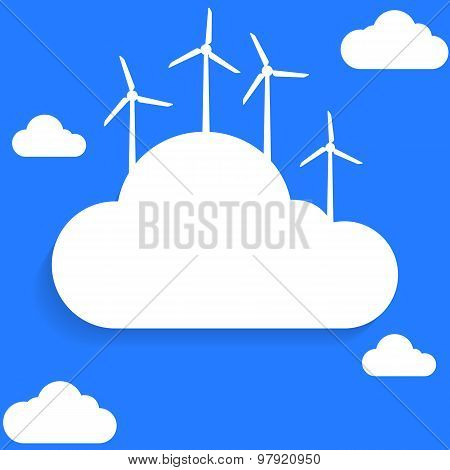 Flat style clouds and wind turbines