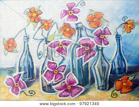 Decorative Still Life With Orange And Pink Flowers In Bottles.