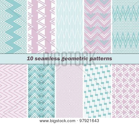 10 Seamless Geometric Patterns In Pink And Blue Colors