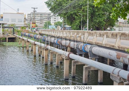Nakhonratchasima, Thailand - June 23, 2015 : Waste Pipeline Drainage Water Treatement.