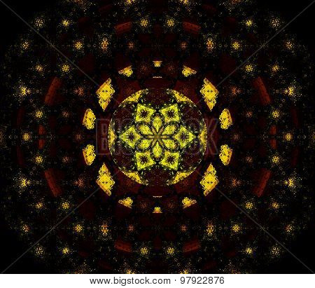 Seamless pattern abstract universe yellow black