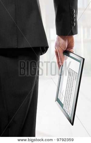 Businessman Holding A Touchpad Pc With The Email Program