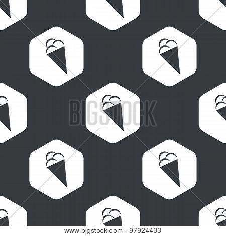 Black hexagon ice cream pattern