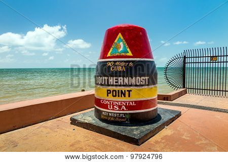 The Key West, Florida Buoy Sign Marking The Southernmost Point On The Continental Usa