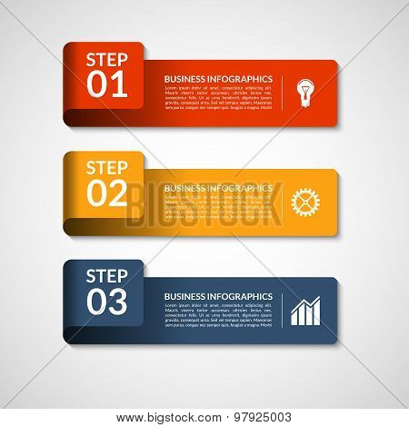 Vector number banners template for infographics. 3 steps business concept
