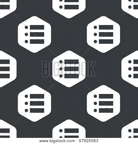 Black hexagon dotted list pattern