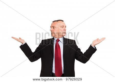 Two-headed businessman with open hands