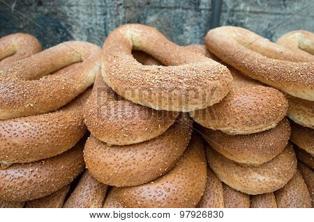 Close Up Of Bread Bagels With Sesam