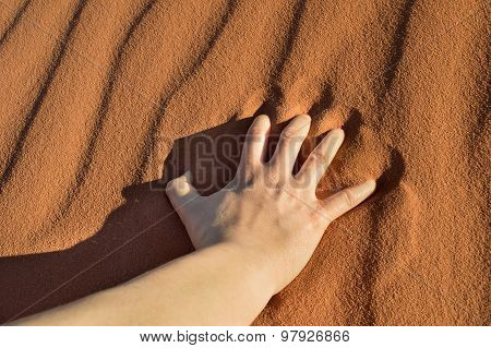 Close Up Of Hand On The Desert Sand