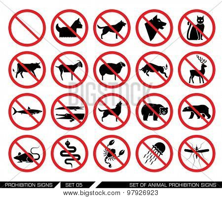 Set of animal prohibition signs. Vector illustration. Collection of signs that ban animal presence. Animal entrance is not allowed. Vector illustration.