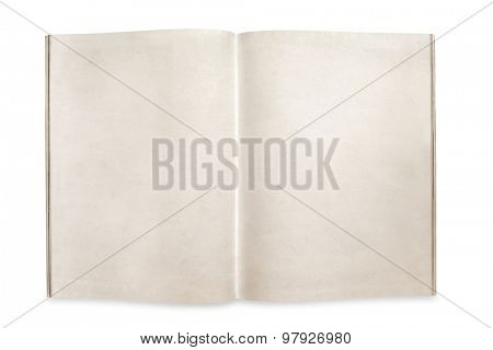 Open magazine or book with blank pages, isolated on white background.  Clipping path included.