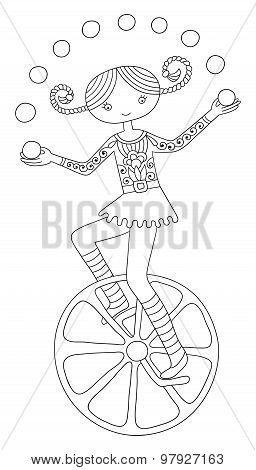 line art illustration of circus theme - teenage girl juggler on