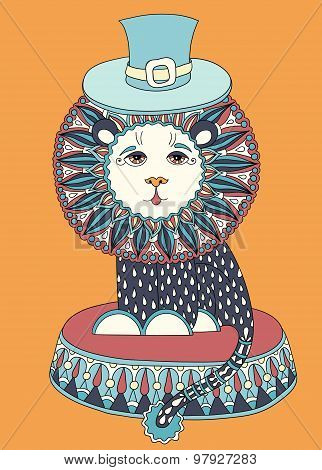 colored line art drawing of circus theme - lion in a hat