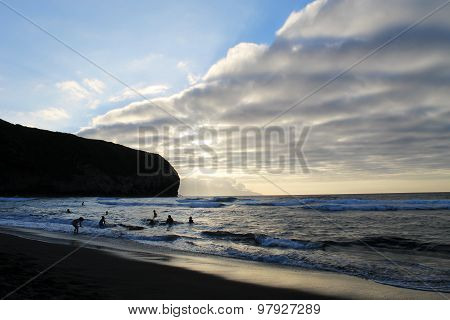 Beach In Azores On Sunset