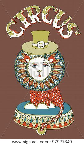drawing of circus theme - lion in a hat with inscription CIRCUS