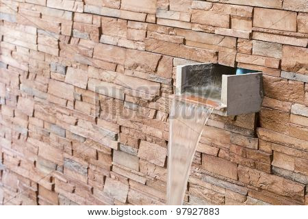 Water Fall Drain With Wall Brick.