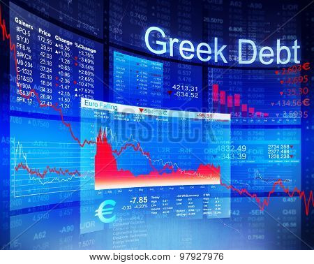 Greek Debt Crisis Economic Stock Market Banking Concept