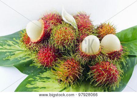 Rambutan fruit white background.