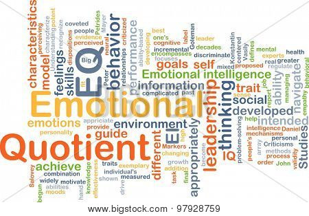 Background concept wordcloud illustration of emotional quotient EQ