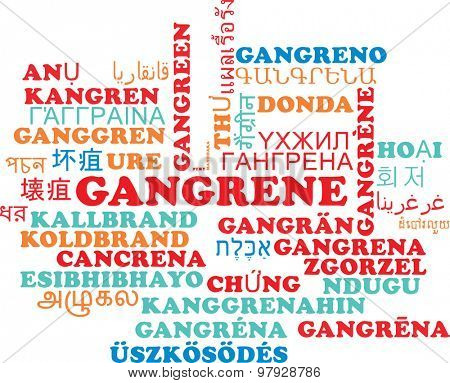 Background concept wordcloud multilanguage international many language illustration of gangrene