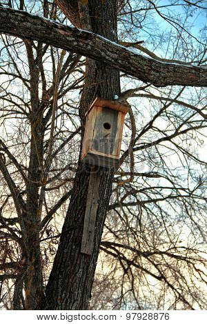 Wooden Birdhouse On Tree Trunk For Wintering Birds