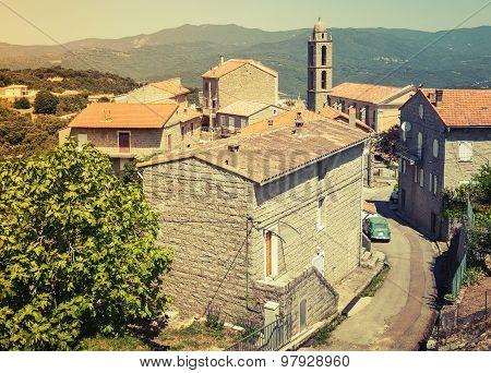 Rural Landscape Of Corsica, France. Vintage Style