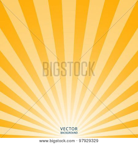 the sun and the sun's rays on yellow background. vector illustration eps10