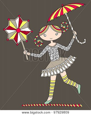 pretty girl acrobat walking a tightrope with an umbrella and dec