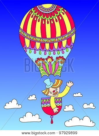 colored line art drawing of circus theme - clown in a balloon