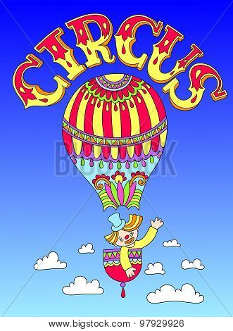 drawing of cirque theme - clown in a balloon  with inscription C