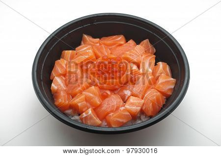 Raw and fresh salmon meat and salmon roe