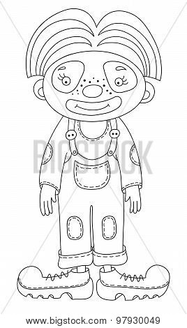 black and white line art illustration of circus theme - clown