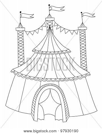 black and white line art illustration of circus tent
