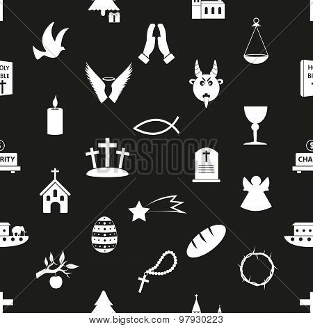 Christianity Religion Symbols Black And White Seamless Pattern Eps10