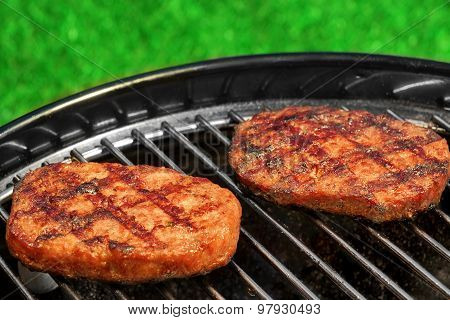 Bbq Hamburger Patties On The Hot Charcoal Grill