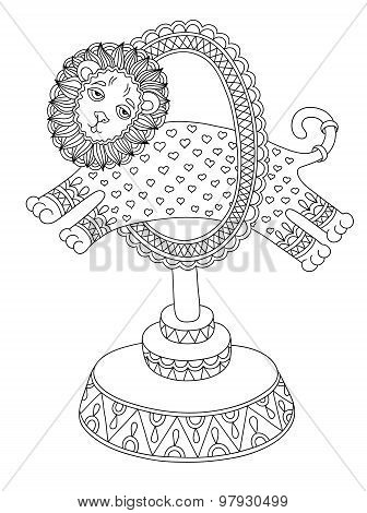 line art illustration of circus theme - a lion jumps through