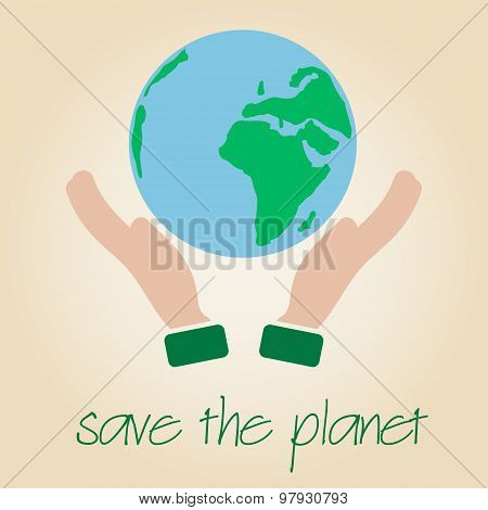 Save The Planet Earth Symbol Globe And Human Hands Eps10