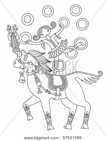 black and white line art illustration of circus theme - girl jug