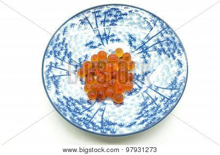 Red caviar, salmon roe on dish
