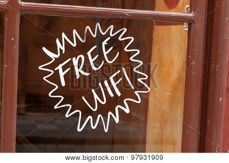 Free Wi-fi Hand Painted On Shop Window