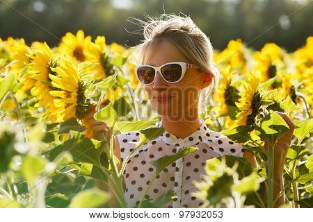Woman Clowns In The Sunflowers