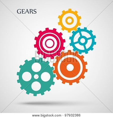 colorful toothed gears (cogs) is meshed on gray background. vector illustration eps10