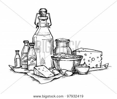 Hand Drawn Vector Illustration -  Farmers Dairy Products. Grocery Store. Supermarket.