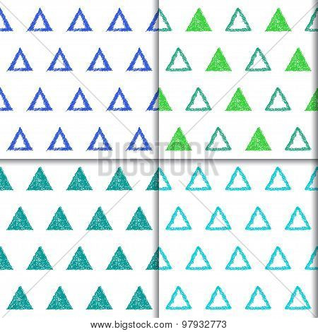 Hand-drawing Doodle Triangle Seamless Patterns Set. Abstract Geometricchildish Backgrounds