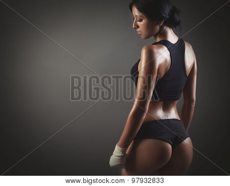 Muscular Female Body Back Image With Copyspace For Text